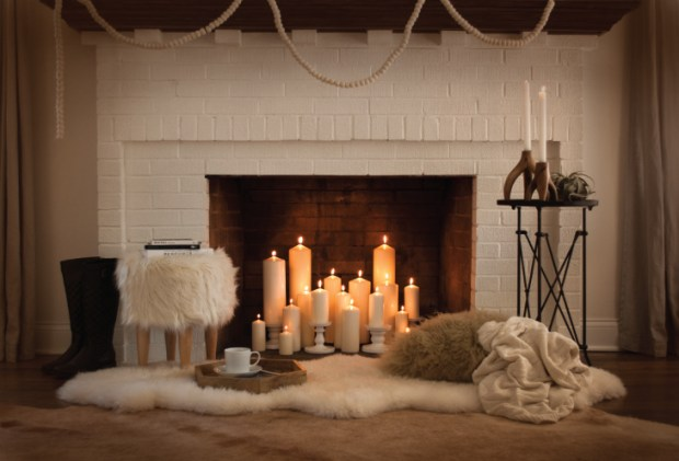 Hygge Lifestyle Living Danish Happiness Cozy Throws Blankets Pillows Fireplace Candles Wood Furniture Relaxation Tea