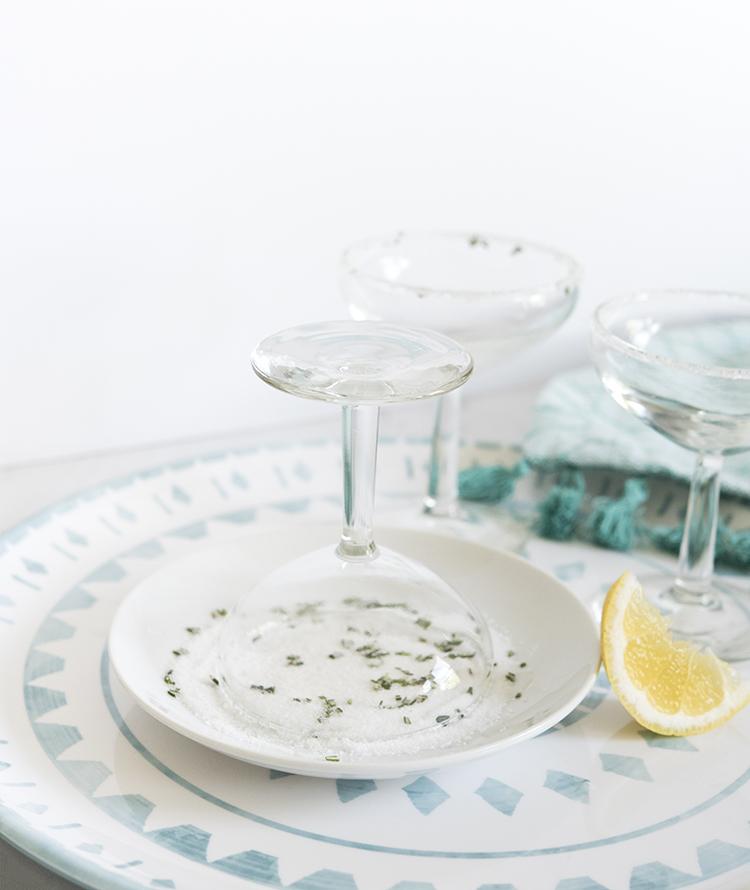 Sugar Rimmed Glasses for Rosemary Lemon Drop