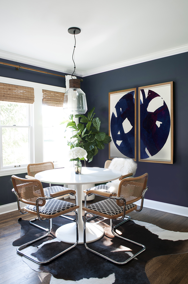 Navy Dining Room with Large Scale Art