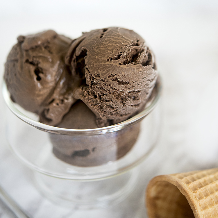 Scoops of Dark Chocolate Ice Cream