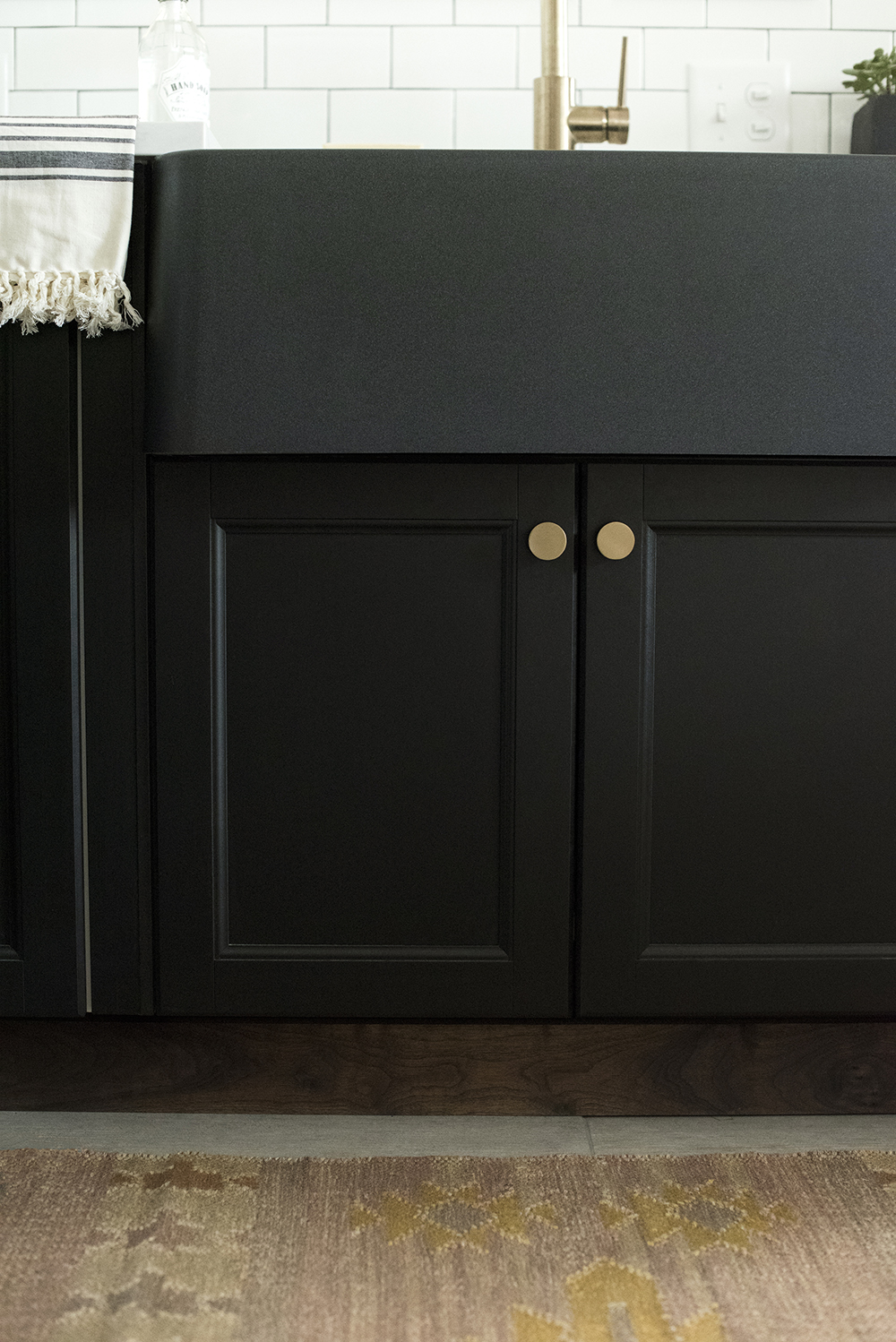 Black Kitchen Sink with Black Cabinets