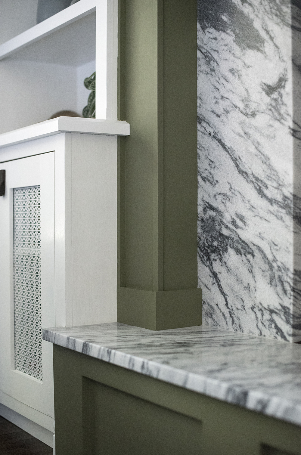 Marble and Green Fireplace Details