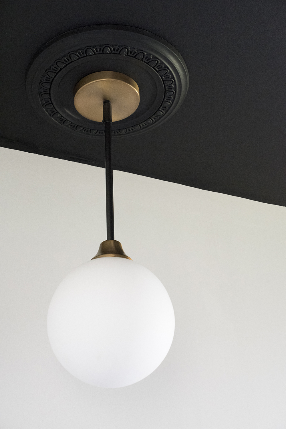 Pendant with Black Ceiling Medallion