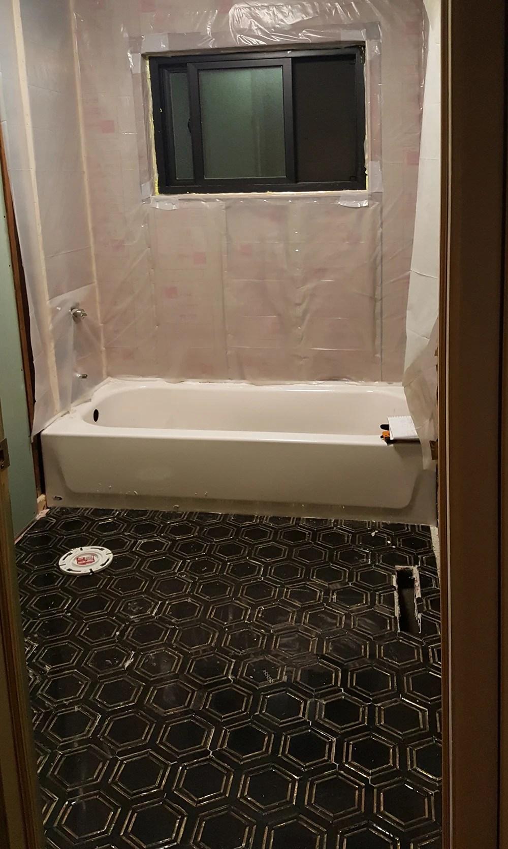 black marble floor tile in progress