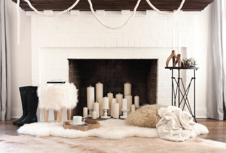 luxe fireplace with fur