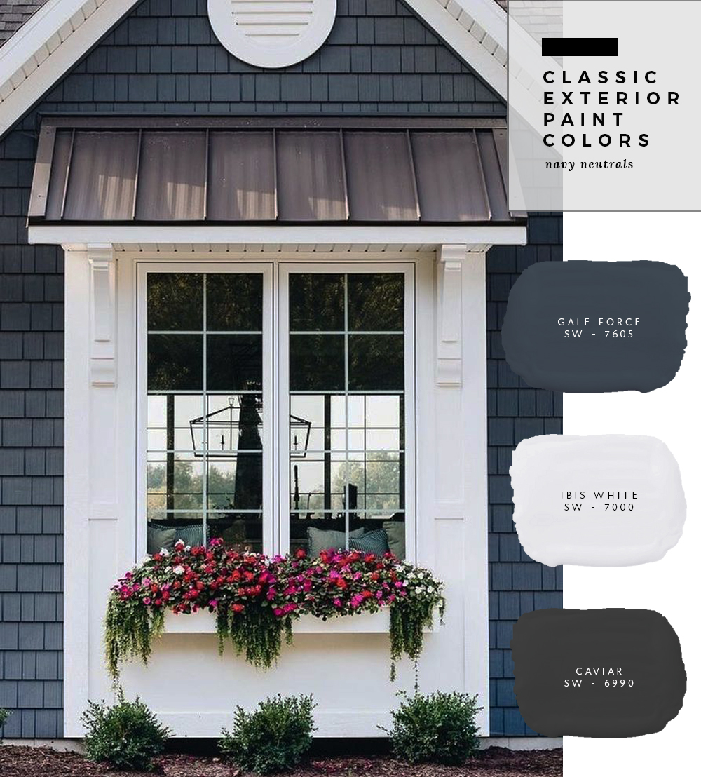 classic exterior paint colors navy neutrals room for tuesday. Black Bedroom Furniture Sets. Home Design Ideas
