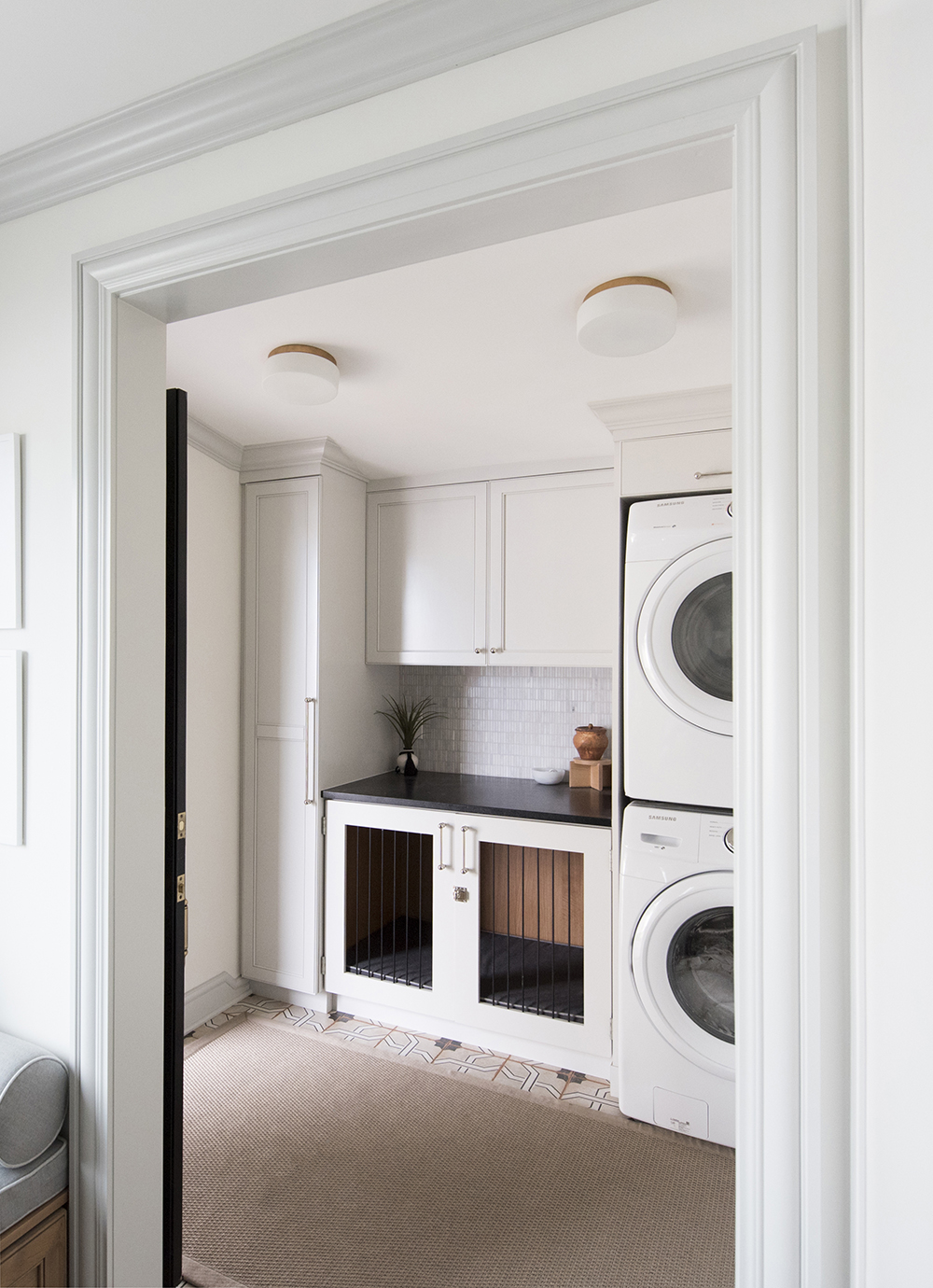 Laundry Room with Built-in Dog Kennel - roomfortuesday.com