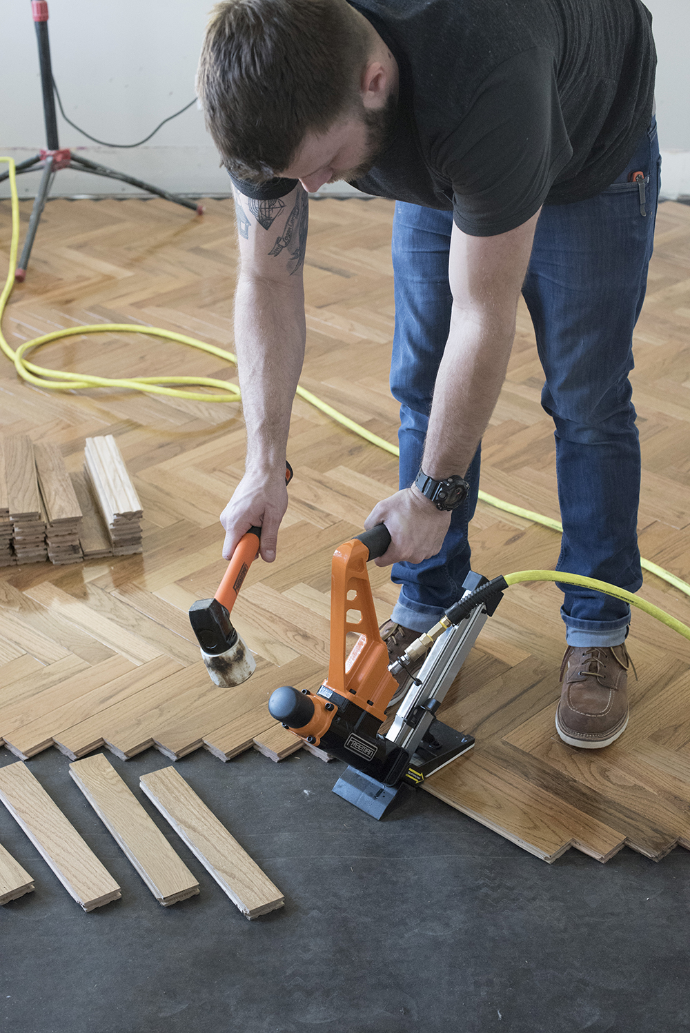 How to Install Herringbone Hardwood Flooring - roomfortuesday.com