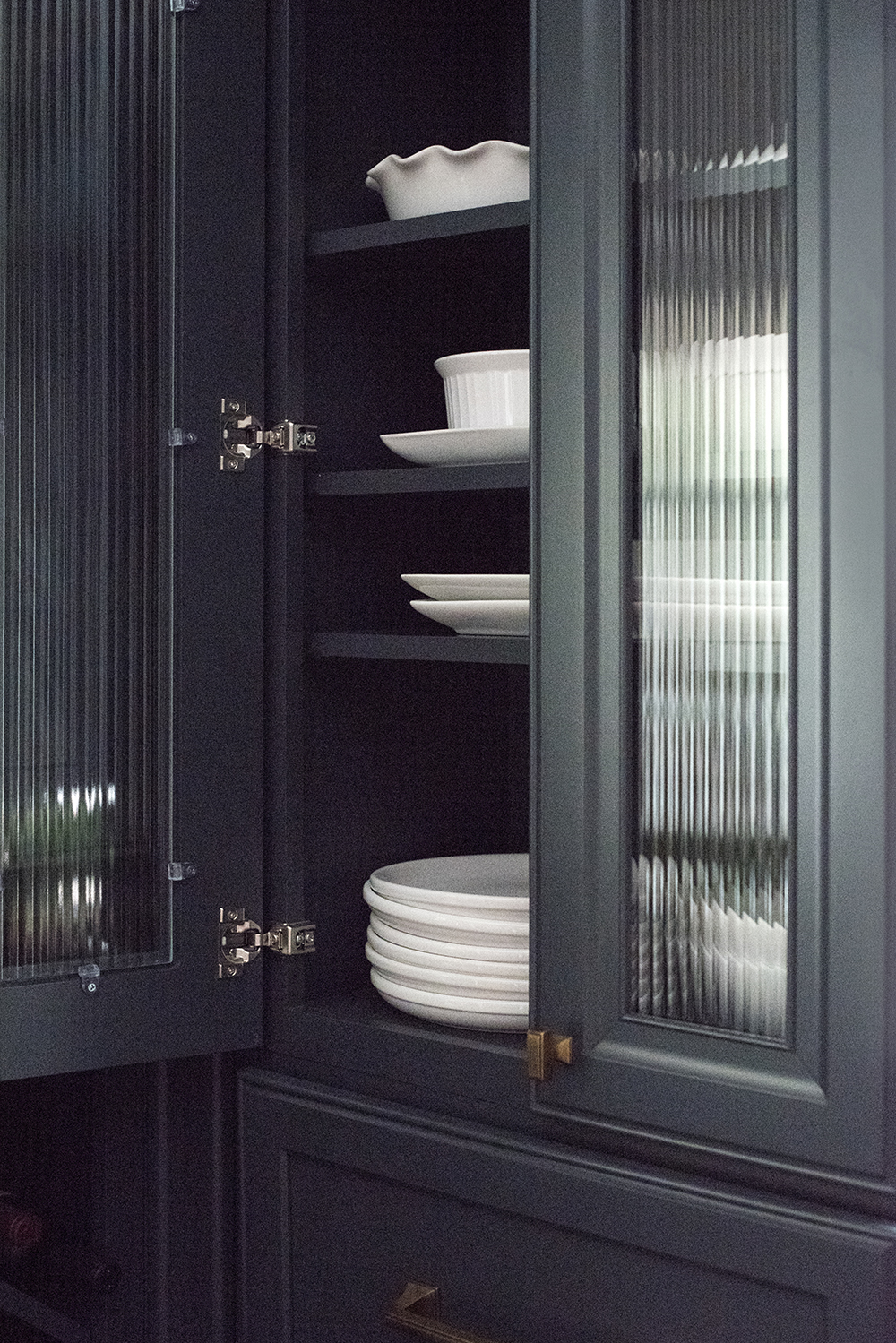 White Dishes in Navy Kitchen Cabinets - Room For Tuesday