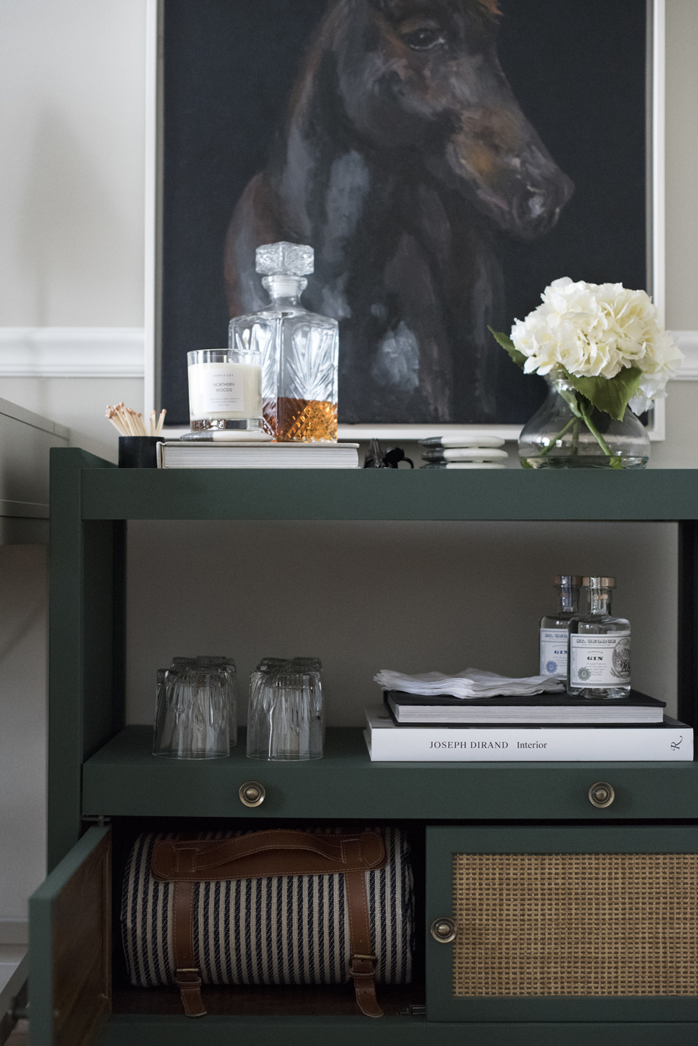 Styled Bar Cart in My Office - roomfortuesday.com