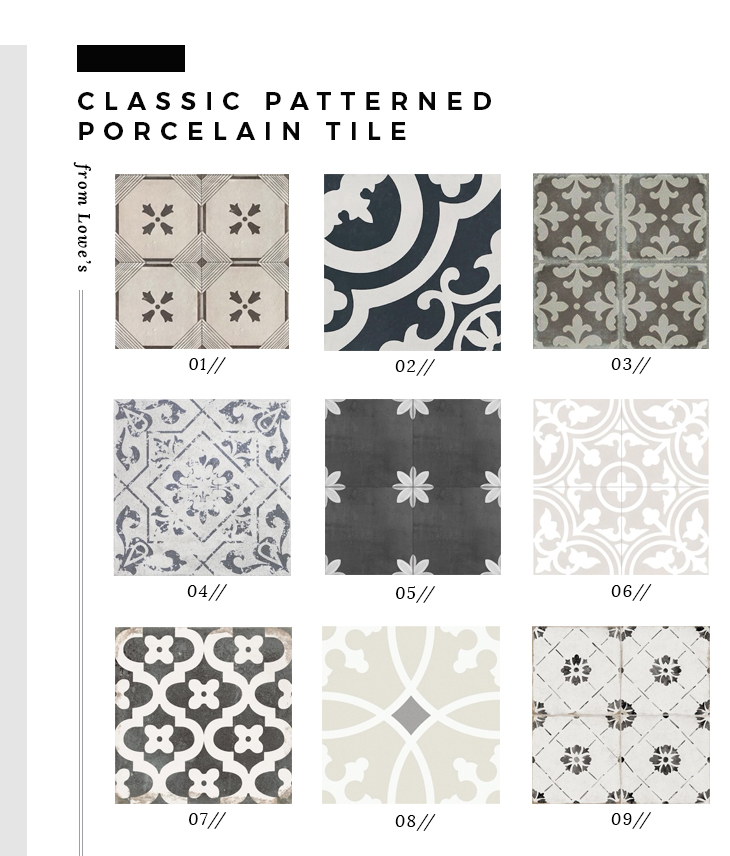 Roundup : Classic Patterned Floor Tile from Lowe's - roomfortuesday.com