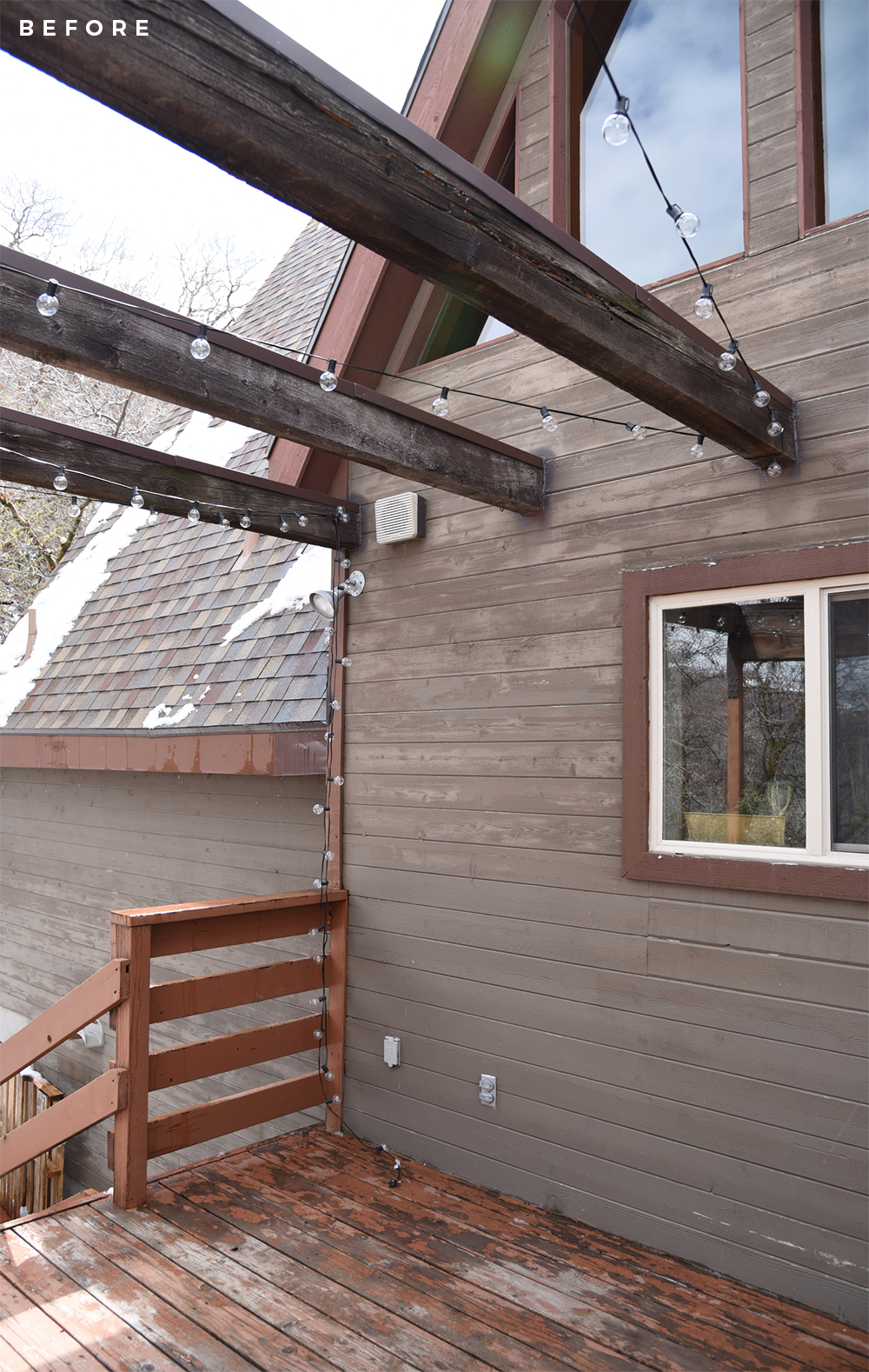 A-Frame Cabin Deck Makeover - roomfortuesday.com