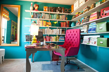 hot pink office chair x rocker octane pedestal gaming crazy in love with a home austin interior design room fu guru robin callan s features teal walls and