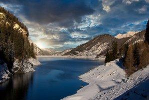 mountains, alpine, reservoir