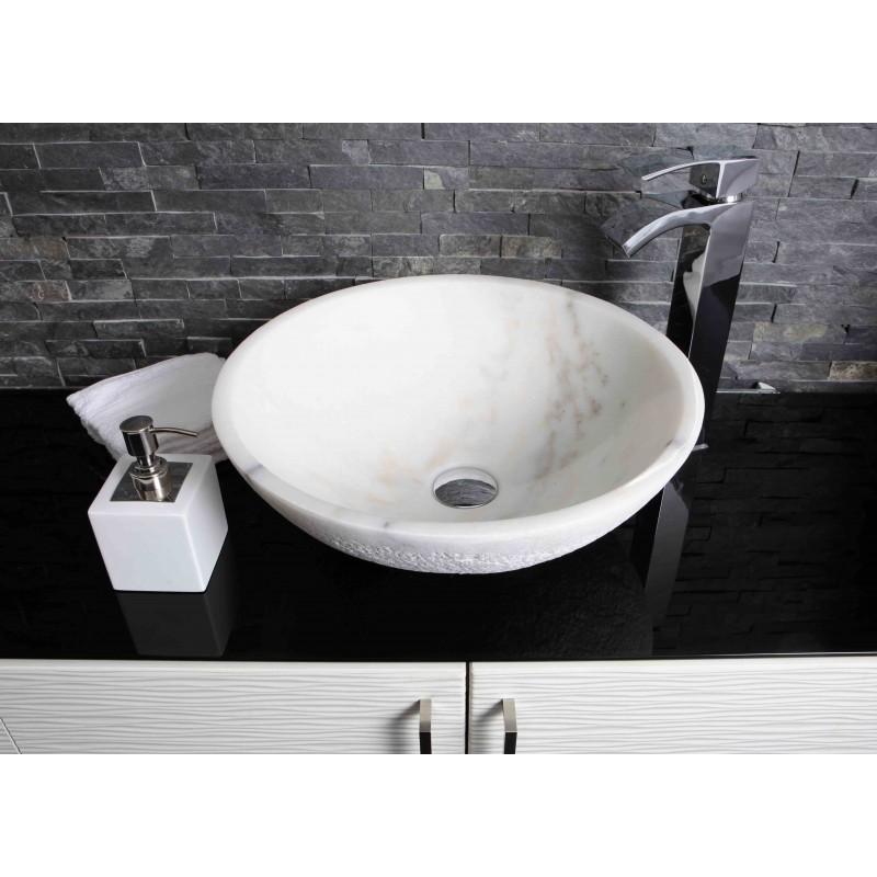 White Marble Stone Round Wash Basin Sink Free Waste