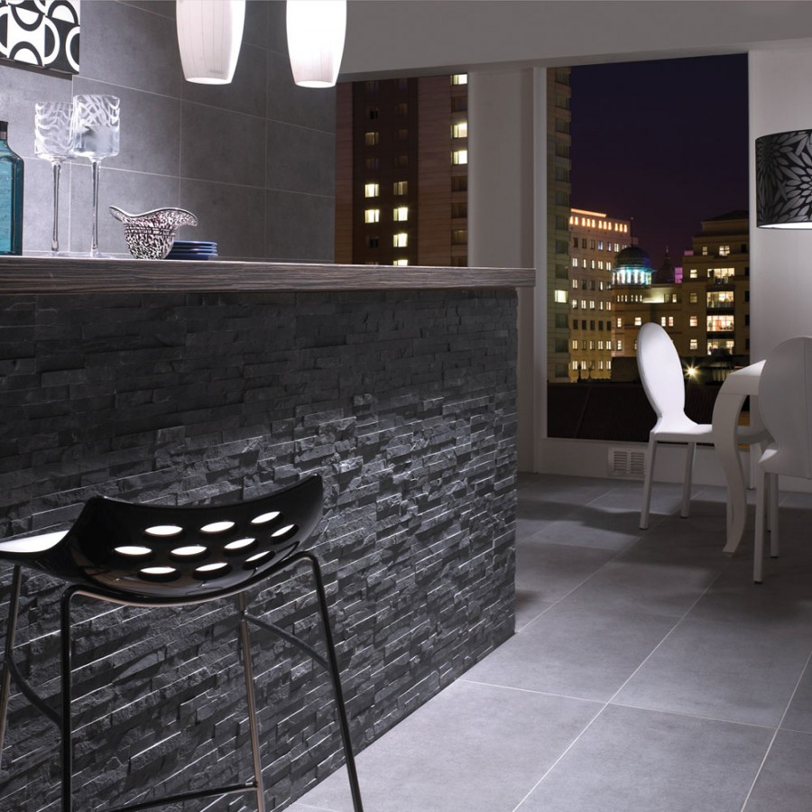 Split Face BLACK SLATE LARGE Natural Stone Cladding Mosaic