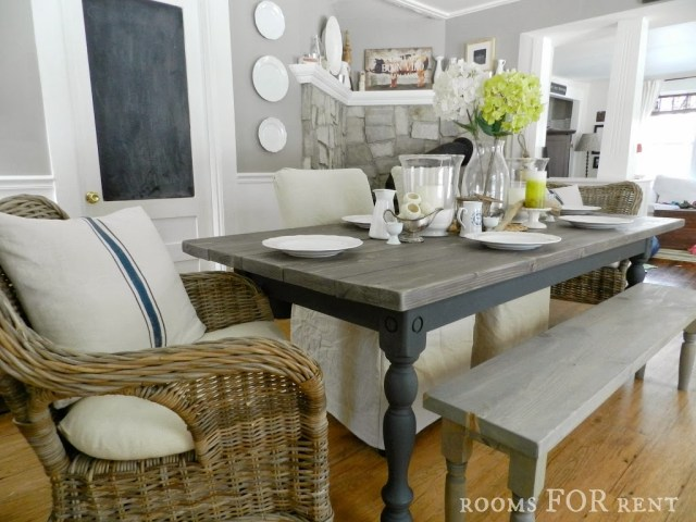 Weathered gray and charcoal frame DIY Kitchen Table - Rooms for Rent