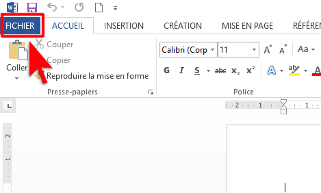 Menu fichier_MS Word