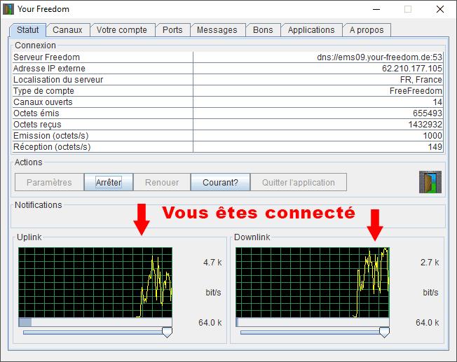 Your-Freedom_Configuration sur PC_connecté