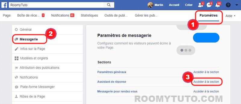 Activer la réponse automatique sur la page Facebook_1