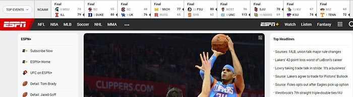 site de Streaming - ESPN
