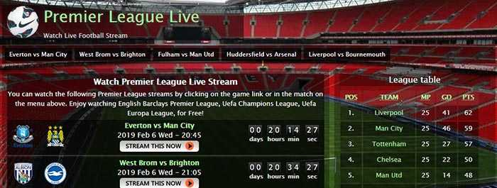 site de Streaming - PremierLeague Live