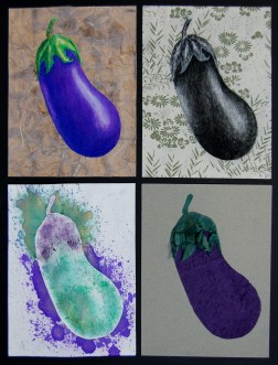 "Eggplants, Multimedia, April 2014,18""x12"""