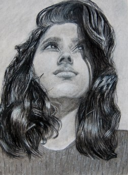 "Looking Forward, Charcoal, Graphite, September 2014, 12""x18"""