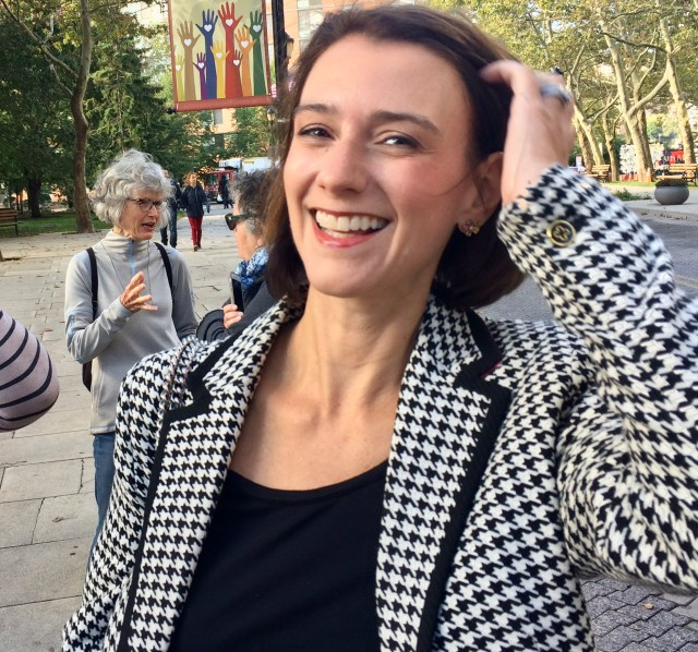 Jessica Lappin arrives for groundbreaking for Roosevelt Island's new NYPL Library