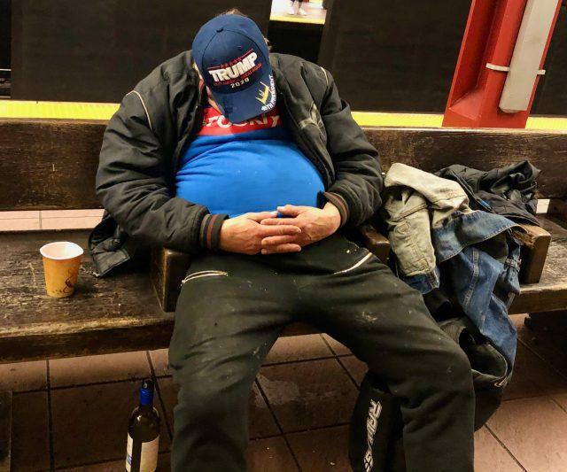 Trump supporter, NYC Subway, January 2020.