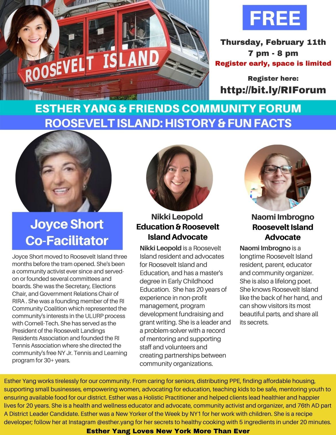 Thursday: Esther Yang and Friends Community Forum, Roosevelt Island History and Fun Facts