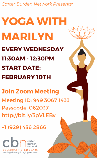 Yoga With Marilyn, The Carter Burden Network Presents on Zoom