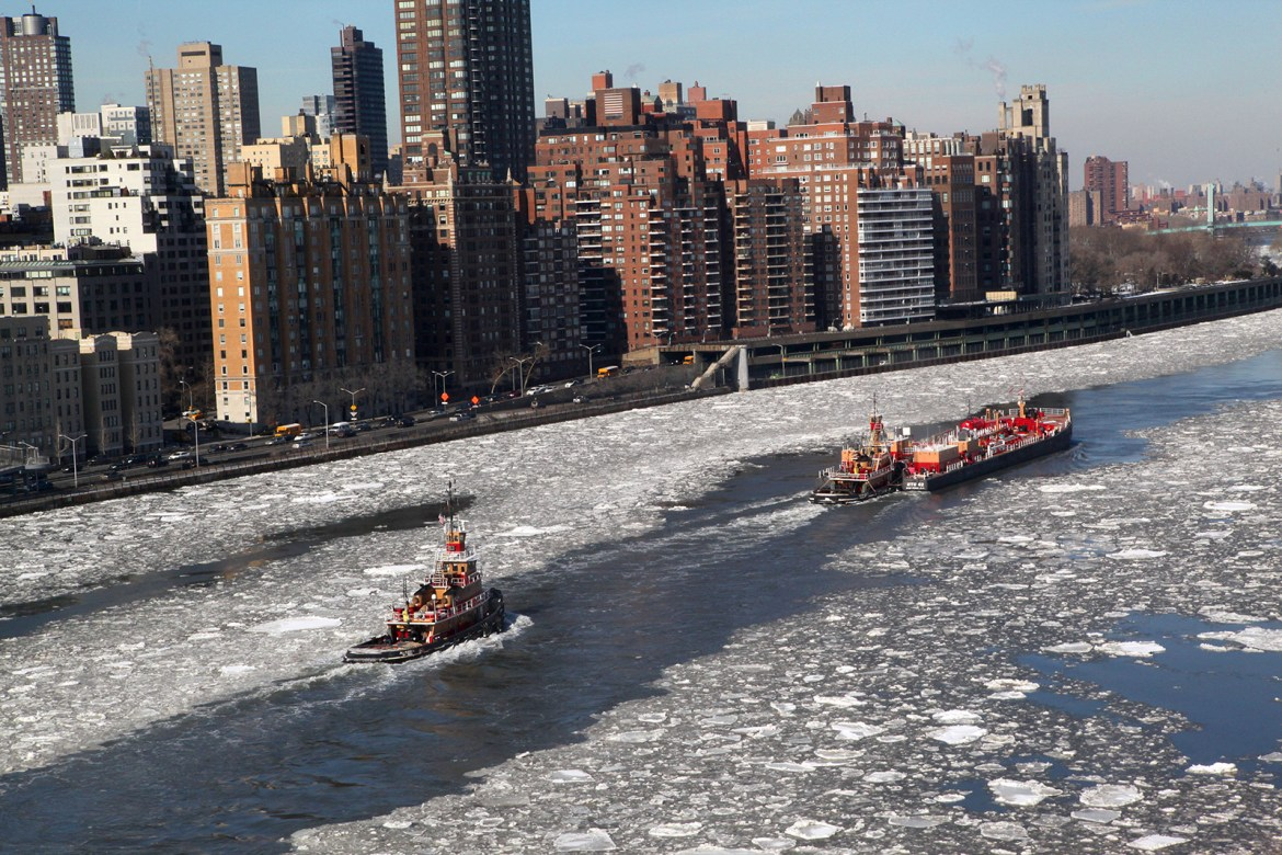 Power Of Tugboats Breaking Through An East River Ice Jam