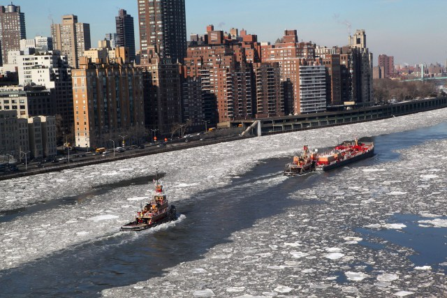 Tugboats, frozen East River