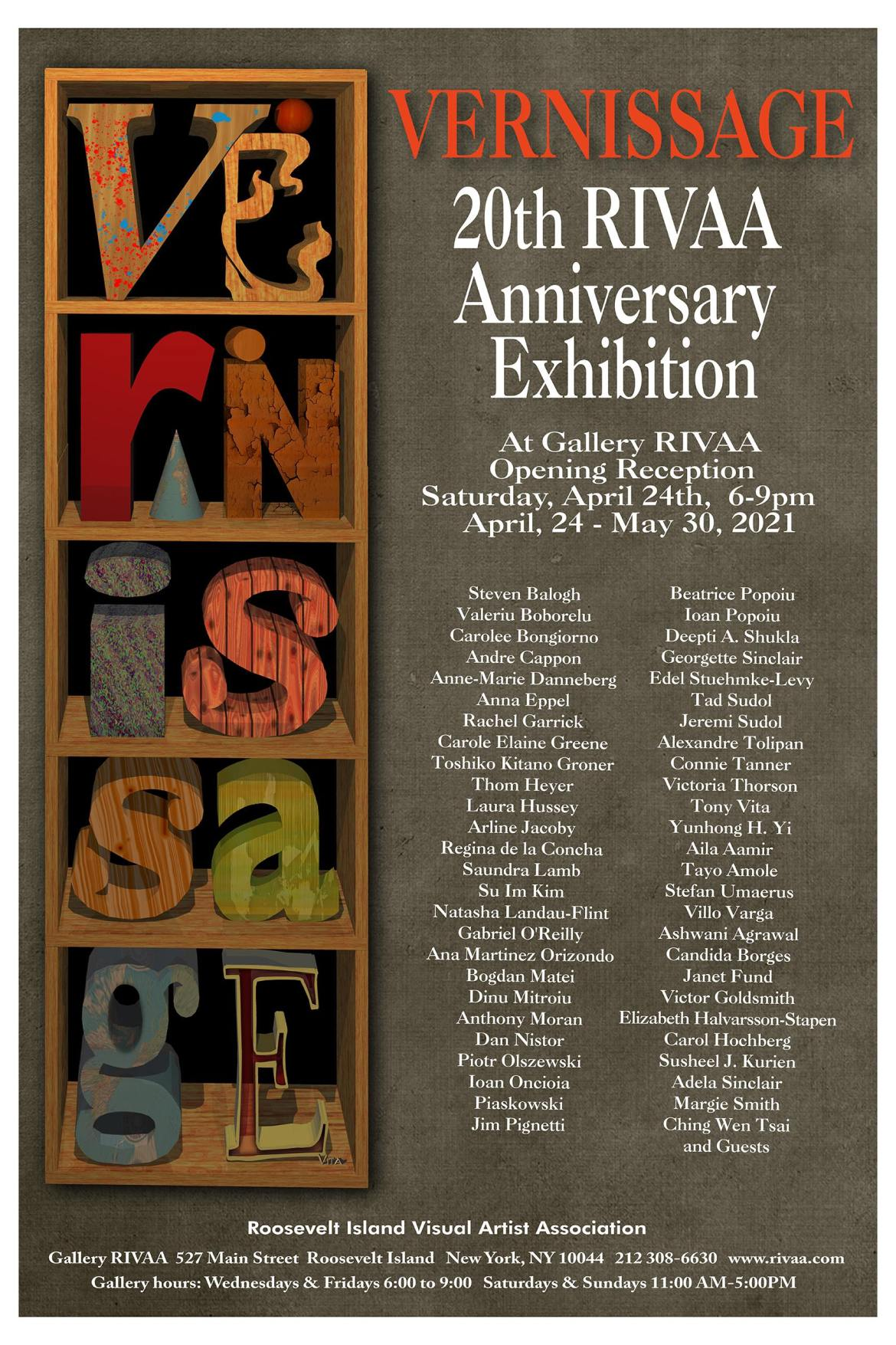 Vernissage 20 Opens Saturday, April 24th at Gallery RIVAA, 527 Main Street