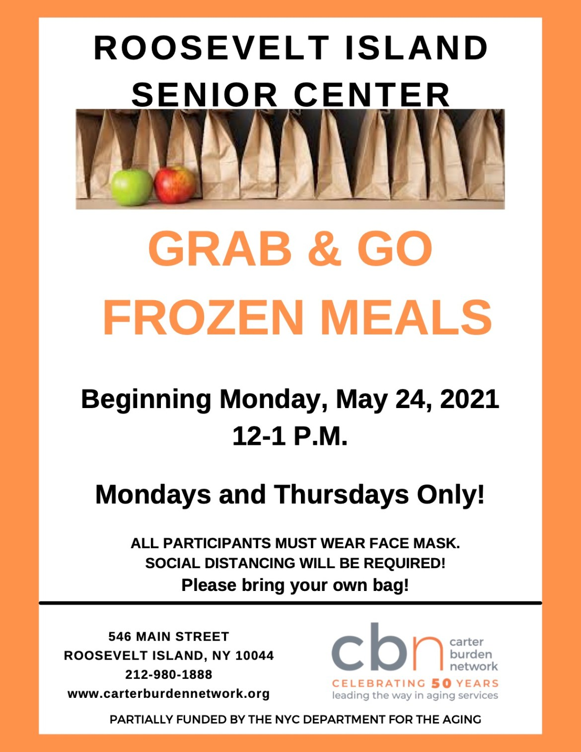 Roosevelt Island Senior Center Stirs with Grab & Go Frozen Meals, Starting Monday