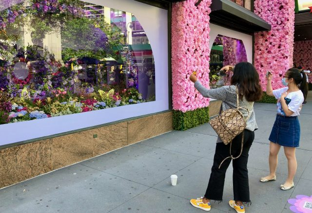 Macy's Flower Show 2021 on the sidewalk