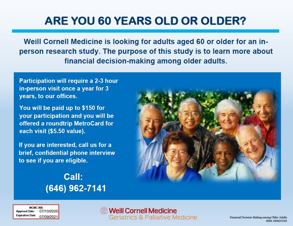 Over 60? How about some quick money sharing your opinions on making financial decisions?