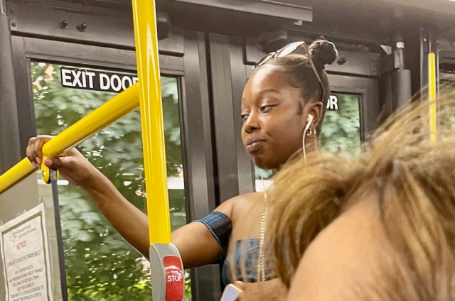maskless on the Red Bus