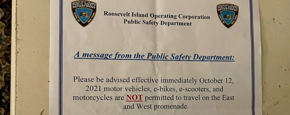 Now, All Motor Vehicles Banned from the Roosevelt Island Promenades