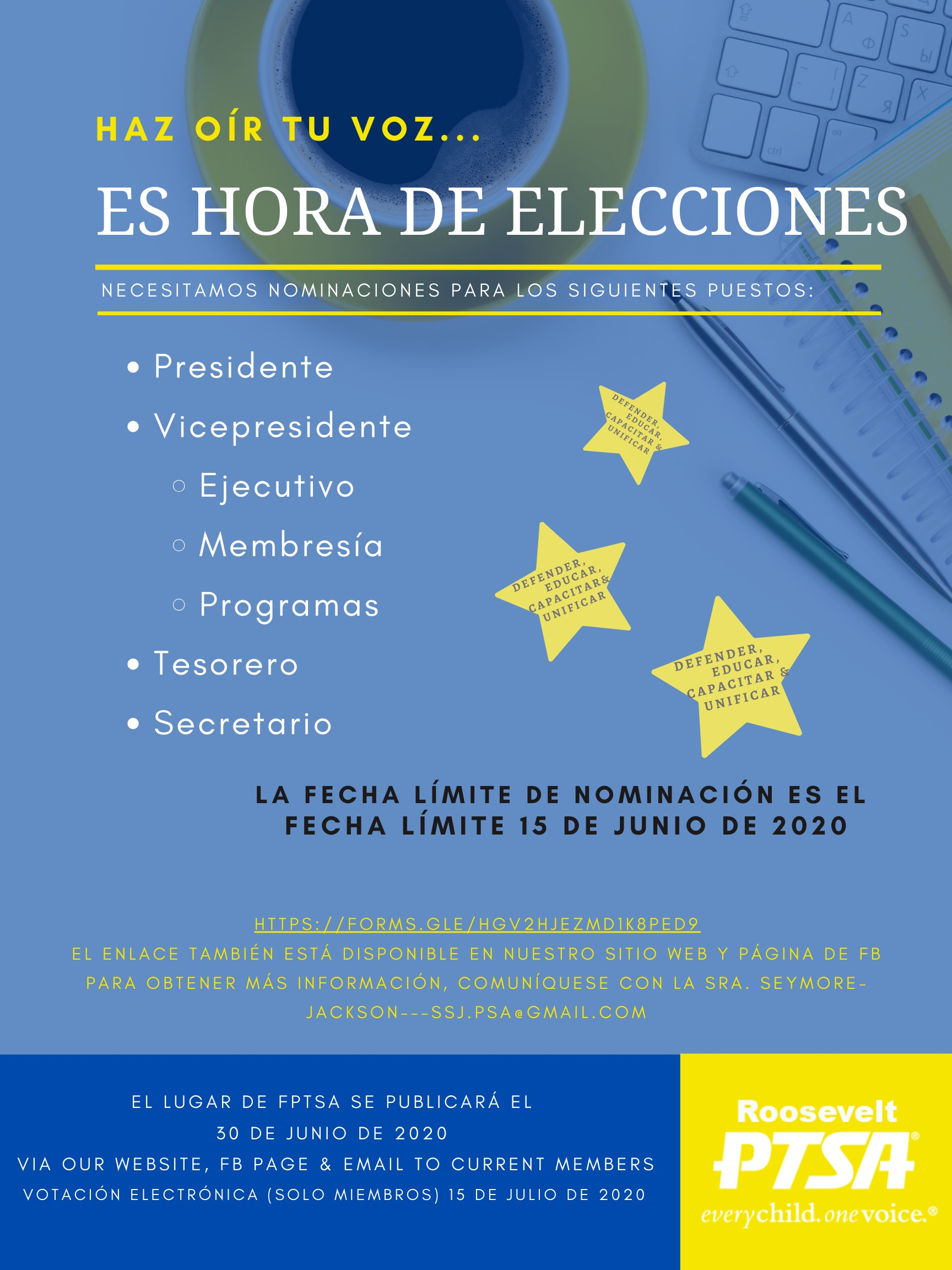 PTSA Election Time- Spanish