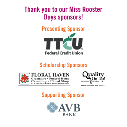 Miss Rooster Days Sponsors - Website Graphic