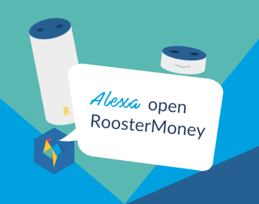 The RoosterMoney logo in a origami shape with a speech bubble saying Alexa, open RoosterMoney, accompanied by illustrations of the Amazon echo devices against a multi-coloured origami background