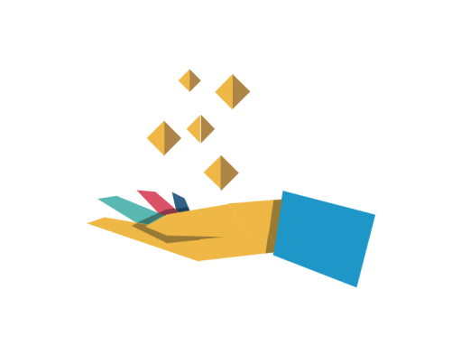 An illustrated open palm with coins floating above it on a white background with origami shapes decorating the corners