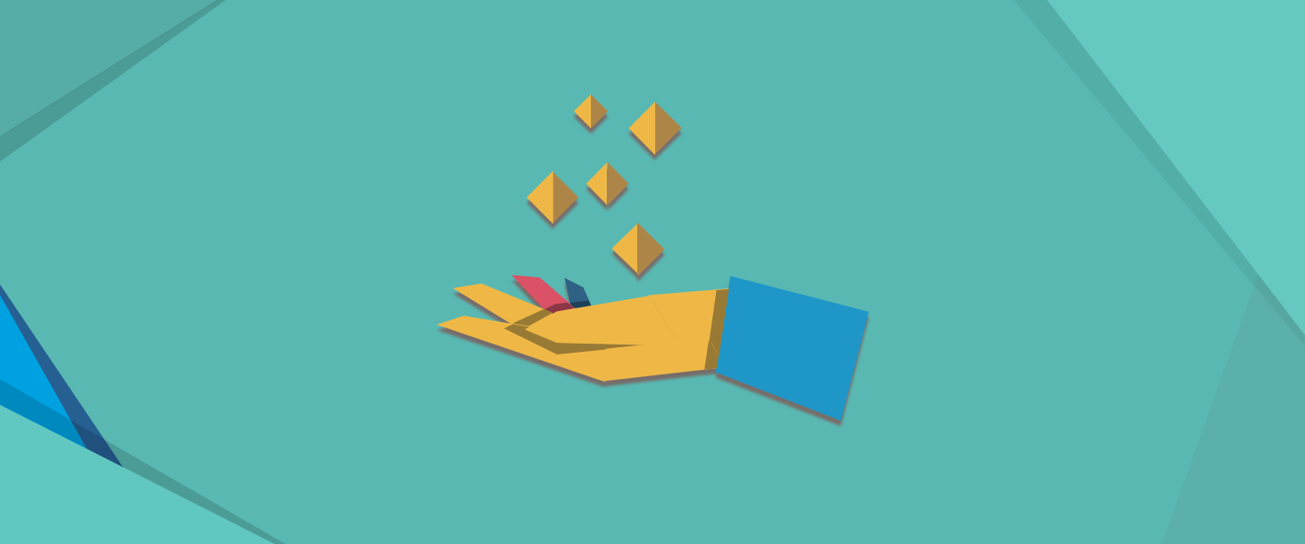 Illustration of an open hand with coins above it, on a teal background with origami overlaid in the corners