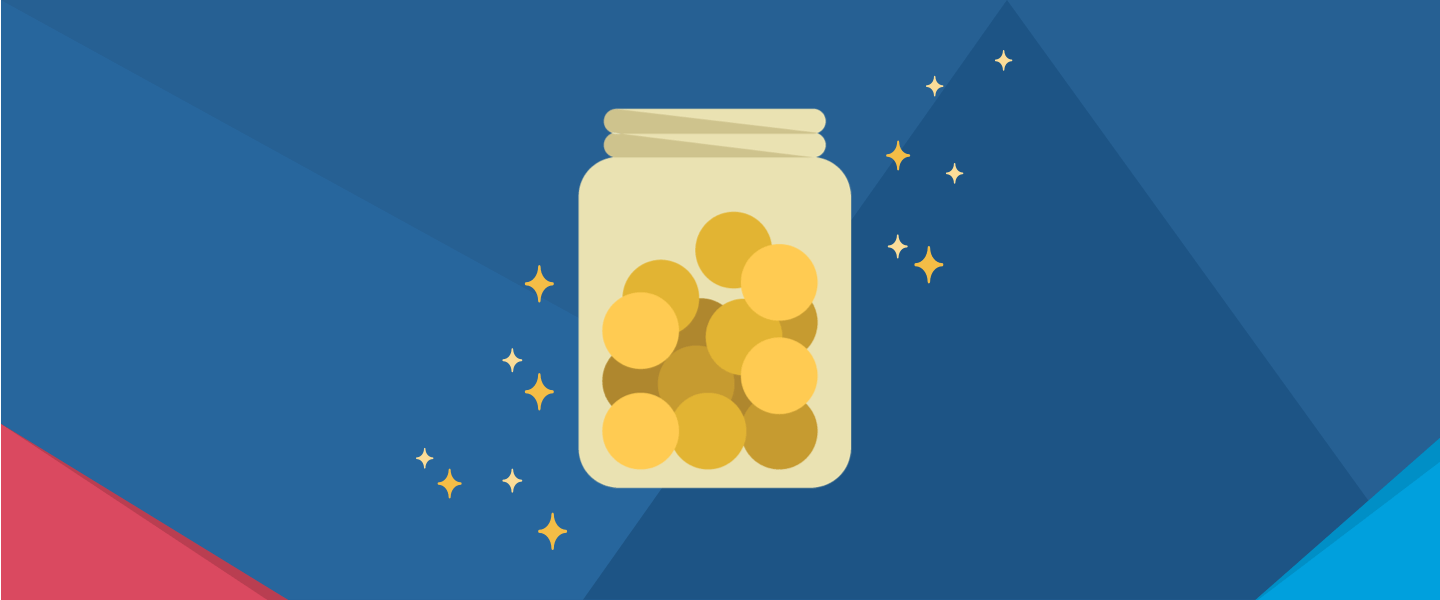 Cartoon, shiny jar of coins with decorative origami overlaid in the corners