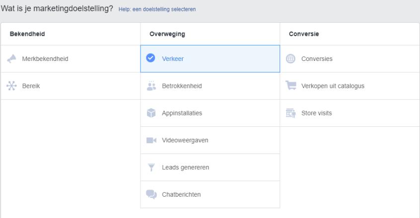 01.-Dynamisch-Advertentiemateriaal-Marketingdoelstelling-kiezen Dynamisch advertentiemateriaal op Facebook (2019)
