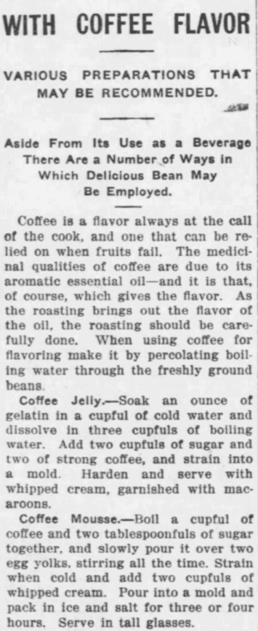 Coffee Recipes from 1915