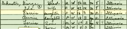 1940 Census Doris Schuster