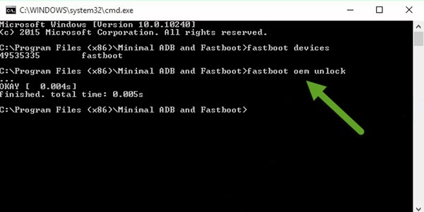 Minimal ADB And Fastboot Command fastboot oem unlock